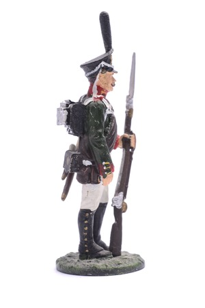 tin soldier non-commissioned officer of the Life Guards Sapper Battalion, 1813 Isolated on white