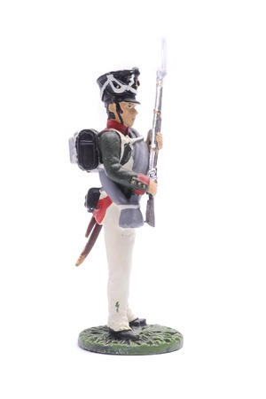 tin soldier  Odessa Infantry Regiment, 1812 Isolated on white
