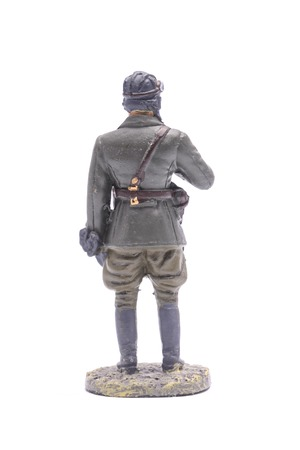 figurine: Tin Soldier tank crewman USSR isolated on white