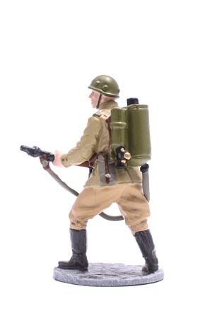 the ussr: Tin Soldier USSR infantryman isolated on white