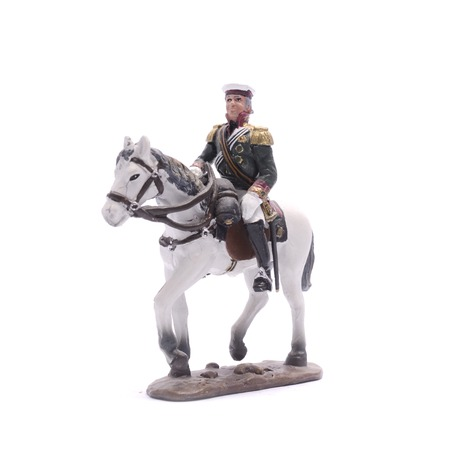 tin soldier Alexander on horseback isolated on white Stock Photo