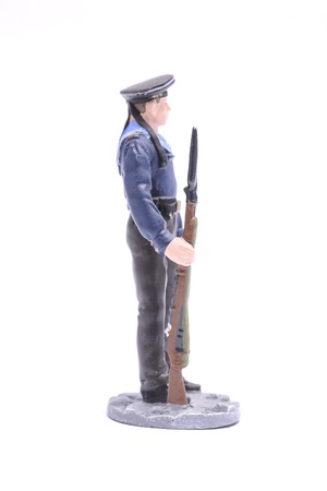 Tin Soldier Sailor, Navy 1943-45 USSR isolated on white Stock Photo