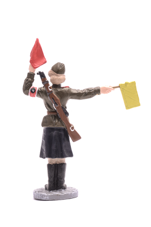 adjuster: Tin Soldier Junior sergeant Road Service USSR 1943-45 isolated on white Stock Photo