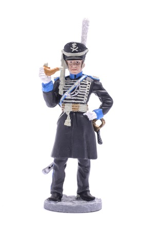 tin soldier officer of the 1st Cavalry Regiment of the St. Petersburg militia, 1812 Isolated on white