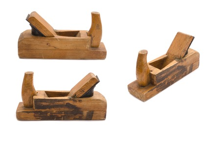 wooden plane in three view isolated on white Stock Photo