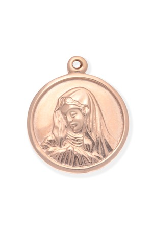 personal ornaments: Gold medallion with the Virgin Mary isolated on white