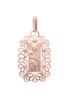 Gold pendant with the Virgin Mary isolated on white