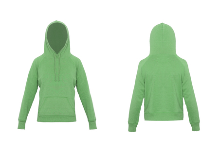 sudadera: green sweatshirt isolated on white Foto de archivo