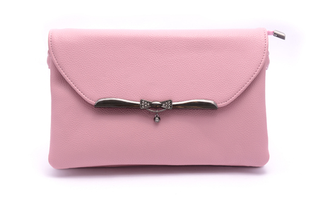Pink leather clutch isolated on white