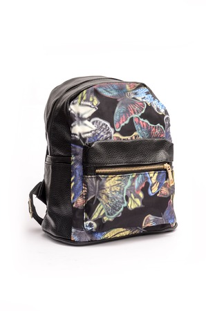 packsack: Womens leather backpack with print