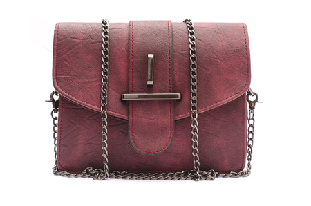 burgundy leather clutch with chain isolated on white Stock Photo