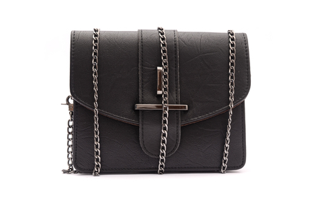 Black leather clutch with chain isolated on white