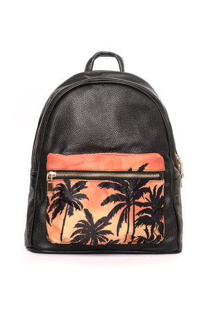 Black backpack with palm trees isolated on white