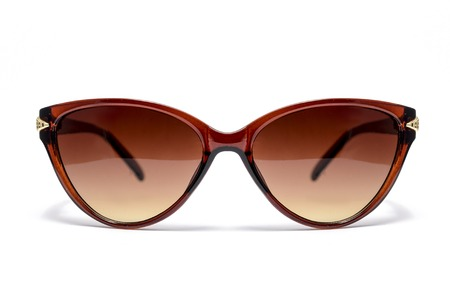 aviators: womens sunglasses with brown glass isolated on white Stock Photo