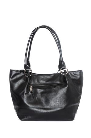 Large leather black bag isolated on white Stock Photo
