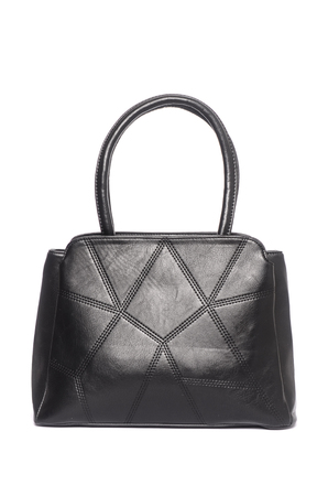 trapeze: Large leather black bag isolated on white Stock Photo