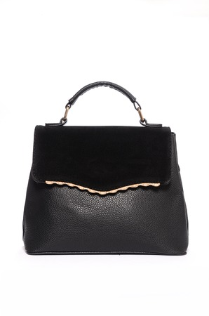 trapeze: Black leather clutch isolated on white