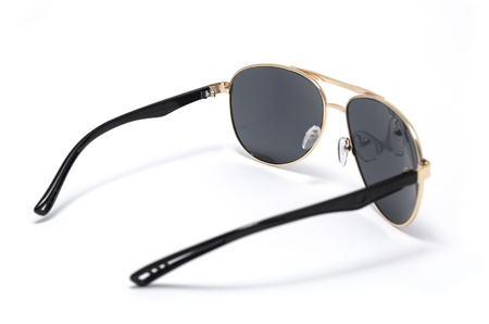 aviators: Sunglasses with black glass in an iron frame isolated on white