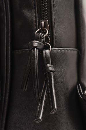 black leather texture: Black leather backpack detail with zipper Stock Photo