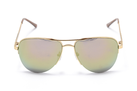 aviators: Sunglasses in an iron frame isolated on white Stock Photo