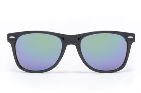 sunglasses in thick black plastic frame with gradient glass isolated on white