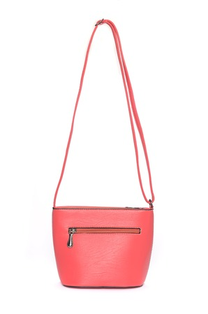 trapeze: Pink leather clutch isolated on white