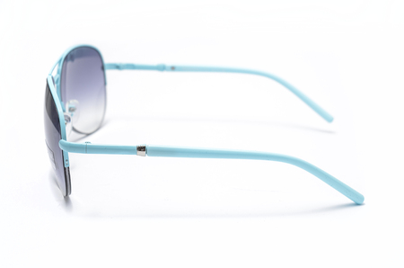aviators: Sunglasses with blue glass in an iron frame isolated on white