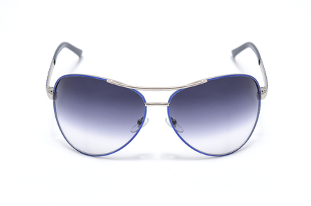 aviators: Sunglasses with blue iron frame isolated on white Stock Photo