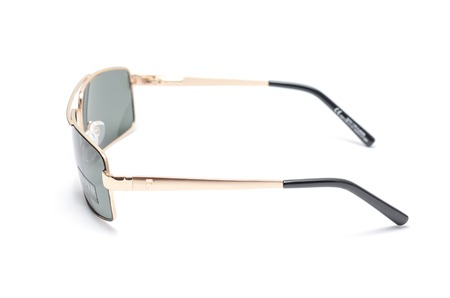 mans sunglasses in an iron frame isolated on white