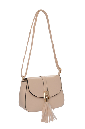 Beige leather clutch isolated on white
