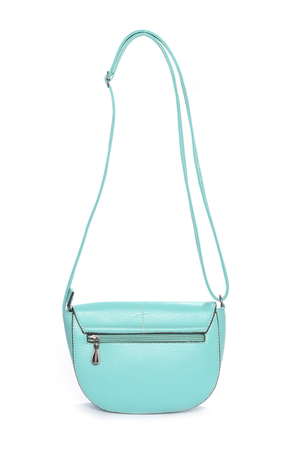 clutch bag: Mint leather clutch isolated on white Stock Photo