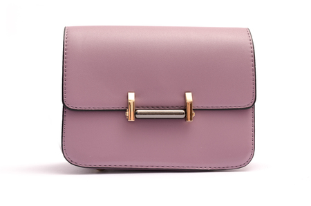 clasps: Pink leather clutch isolated on white