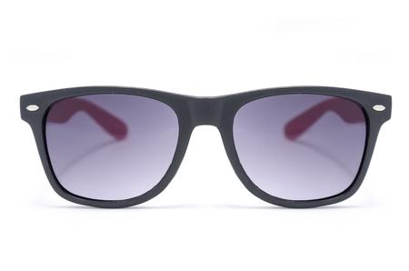 zonnebril in dik zwart plastic frame geïsoleerd op wit Stockfoto