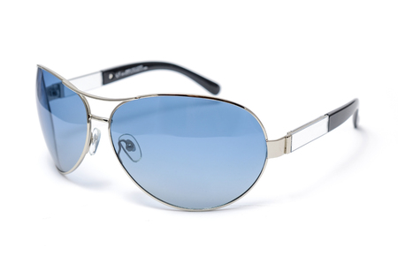 aviators: Sunglasses in an iron frame with blue glass isolated on white