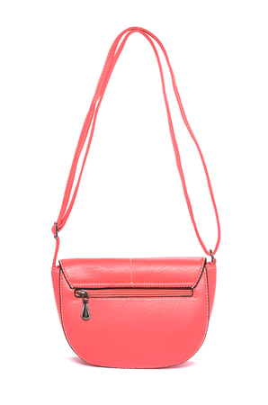 clutch bag: Pink leather clutch isolated on white