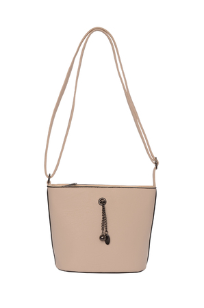 trapeze: Beige leather clutch isolated on white
