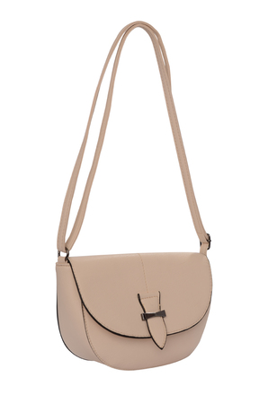 clutch bag: Beige leather clutch isolated on white