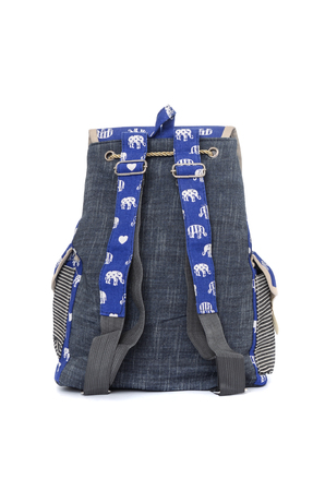 haversack: blue backpack with elephant pattern isolated on white