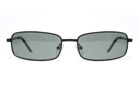 sun s: Rectangular Sunglasses in a thin metal frame on a white background