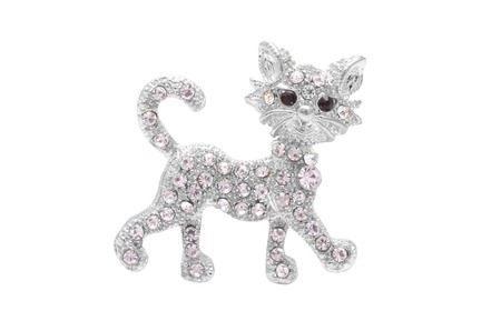 onyx: Brooch silver kitten with diamonds isolated on white Stock Photo