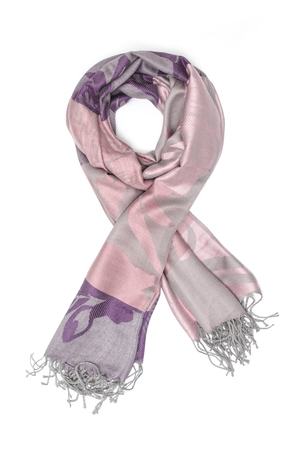 pink and purple womens scarf with pattern isolated on white Stock Photo