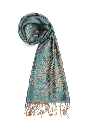 aqua blue womens scarf with pattern isolated on white Stock Photo