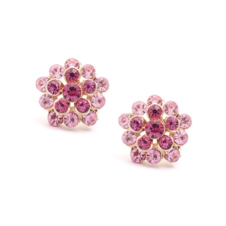 flower earrings with pink diamonds isolated on white