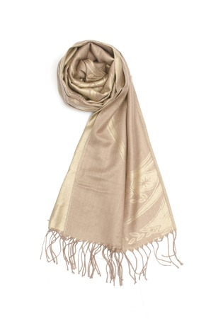 golden womens scarf isolated on white
