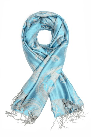 blue womens scarf with pattern isolated on white
