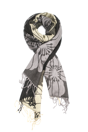 black and gold womens scarf with pattern isolated on white Stock Photo