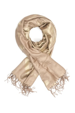 white fabric texture: golden womens scarf isolated on white