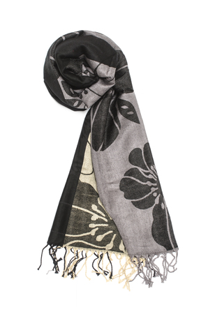 black and gray womens scarf with pattern isolated on white Stock Photo