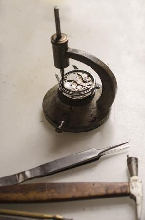 Watchmakers Tool isolated on white: hammer, tweezers, screwdrivers, Stock fotó