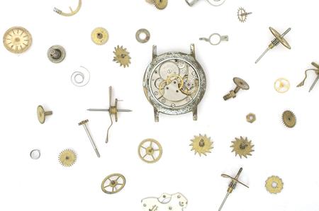古い機械的な詳細と時計の質感